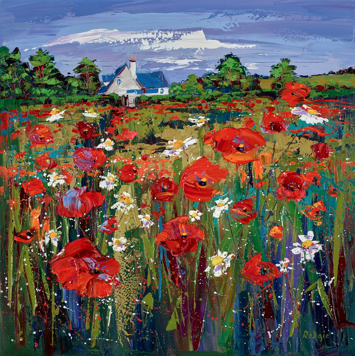 Wild Flower Meadow, Ballancrieff by Lynn Rodgie -  sized 27x27 inches. Available from Whitewall Galleries